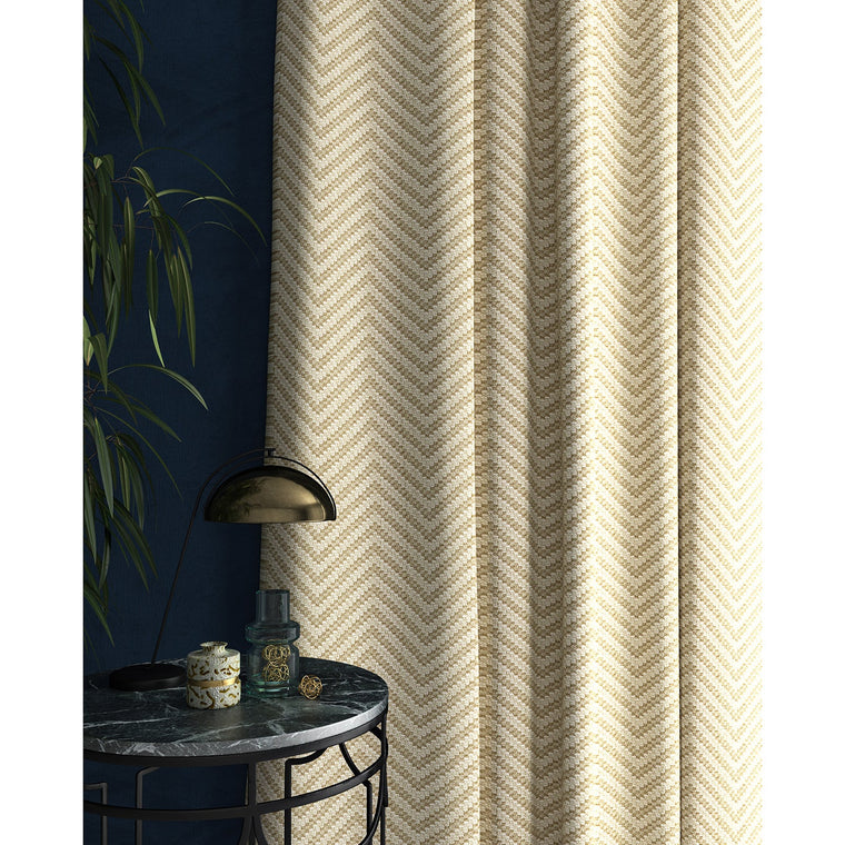 Curtain in a light neutral herringbone weave fabric
