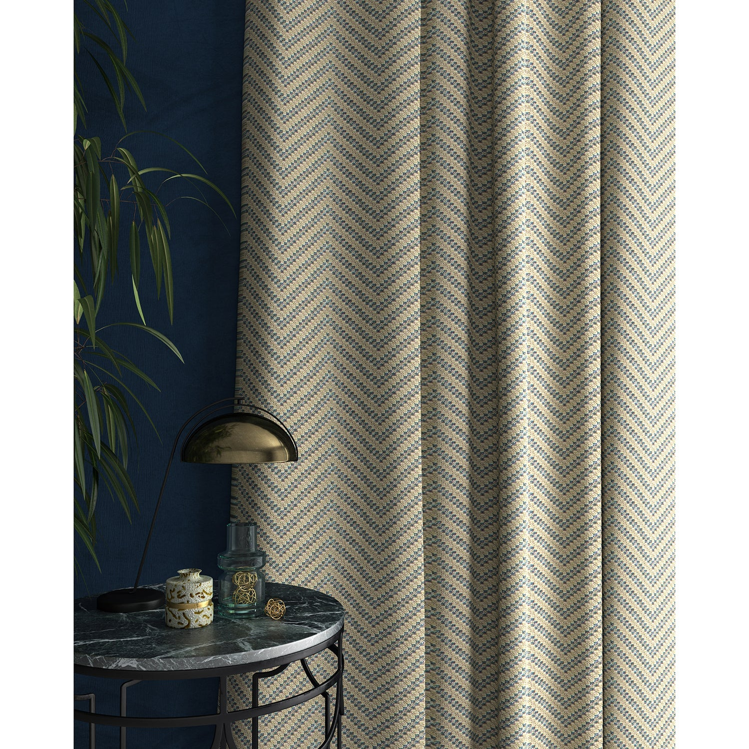 Curtain in a light blue and neutral herringbone weave fabric