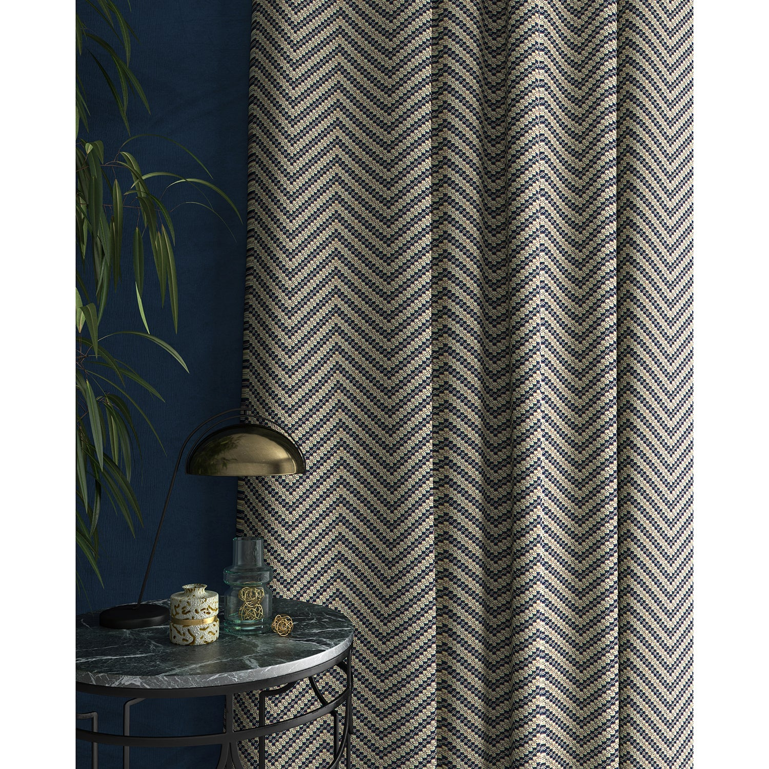 Curtain in a navy and neutral herringbone weave fabric