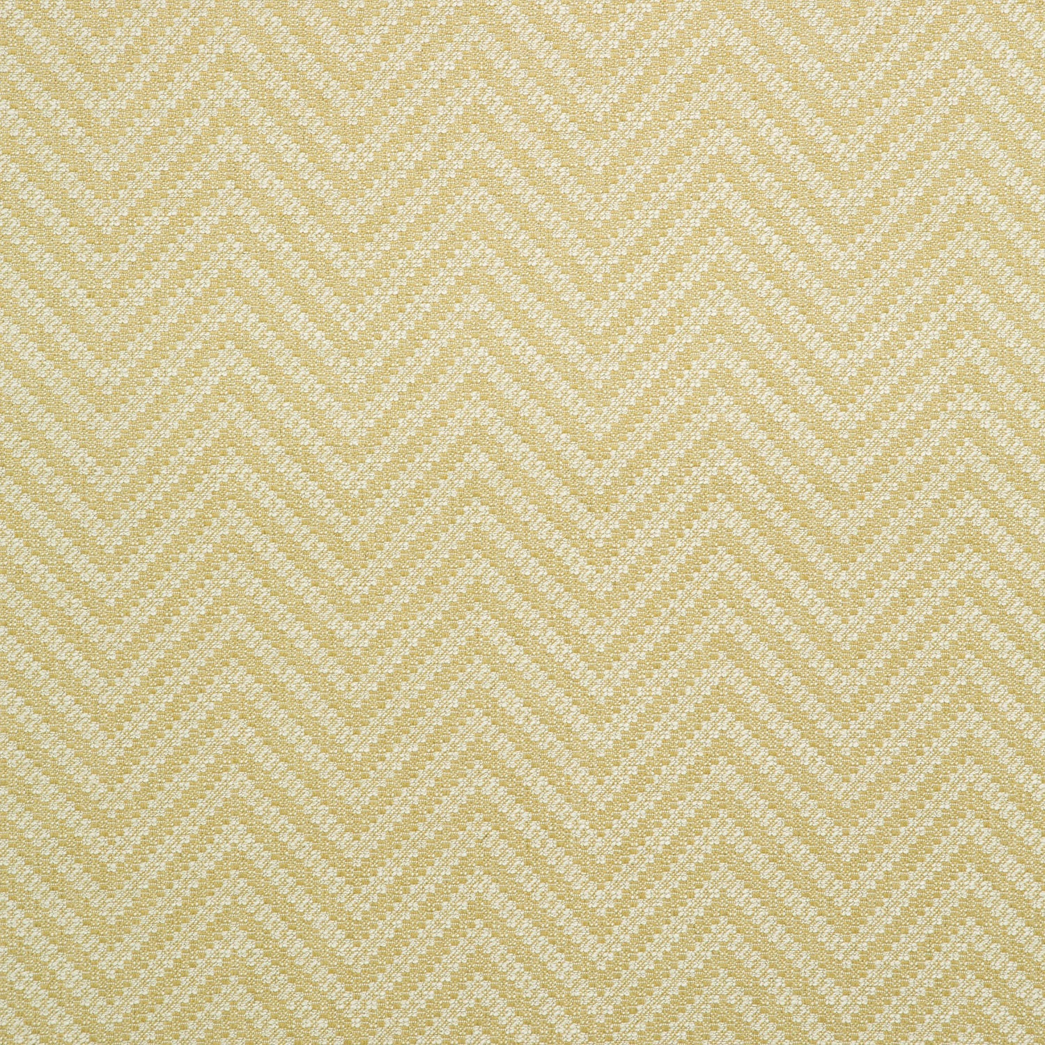 Fabric swatch of a light yellow and neutral herringbone weave fabric for curtains and upholstery