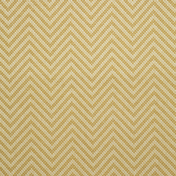Fabric swatch of a yellow and neutral herringbone weave fabric for curtains and upholstery