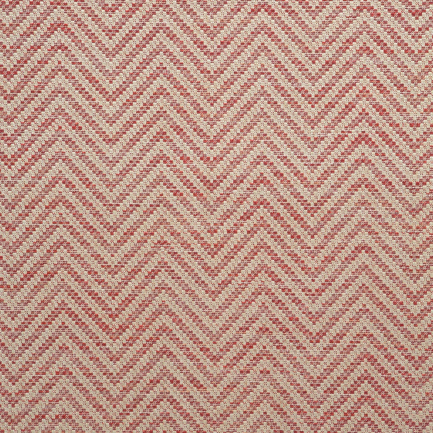 Fabric swatch of a red and neutral herringbone weave fabric for curtains and upholstery
