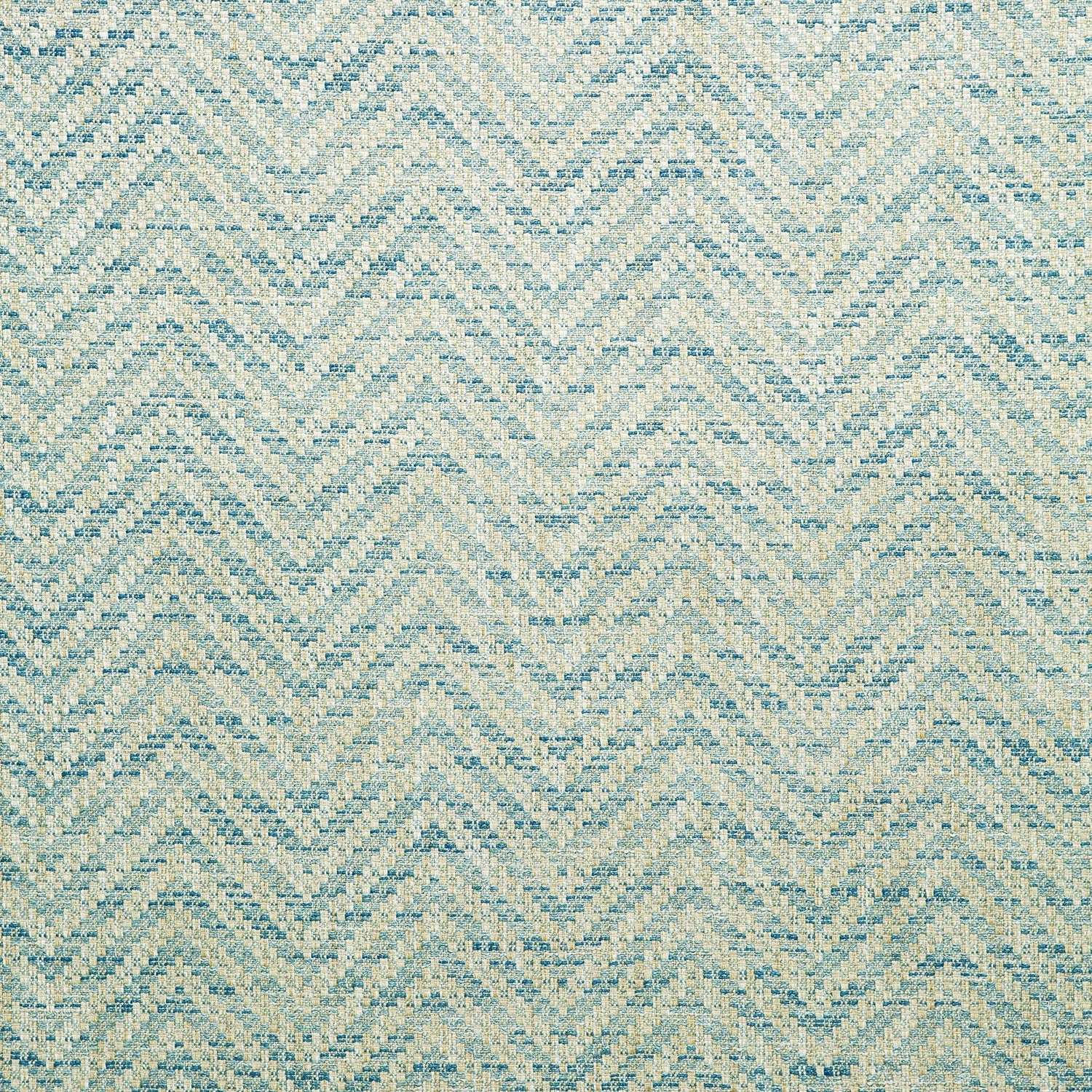 Fabric swatch of a light blue herringbone weave fabric for curtains and upholstery