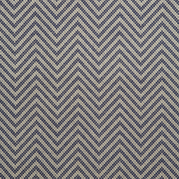 Fabric swatch of a navy and neutral herringbone weave fabric for curtains and upholstery