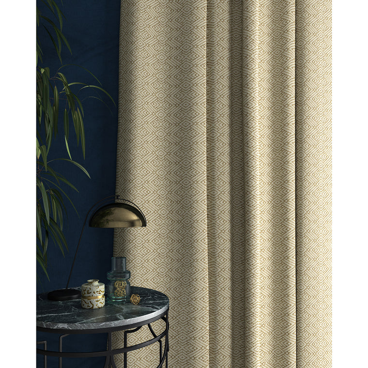 Curtains in a neutral geometric weave fabric