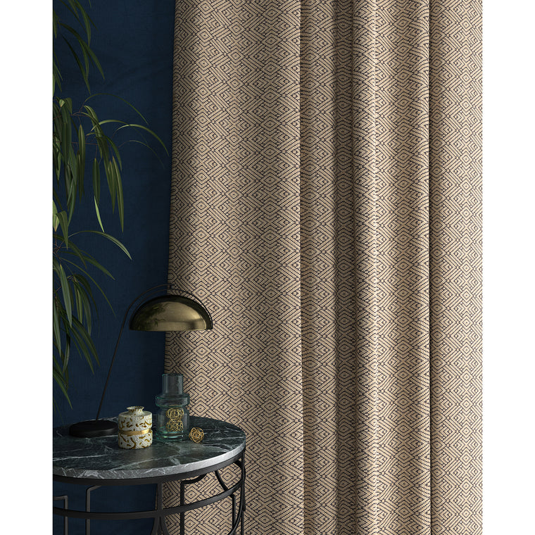 Curtains in a grey and white geometric weave fabric