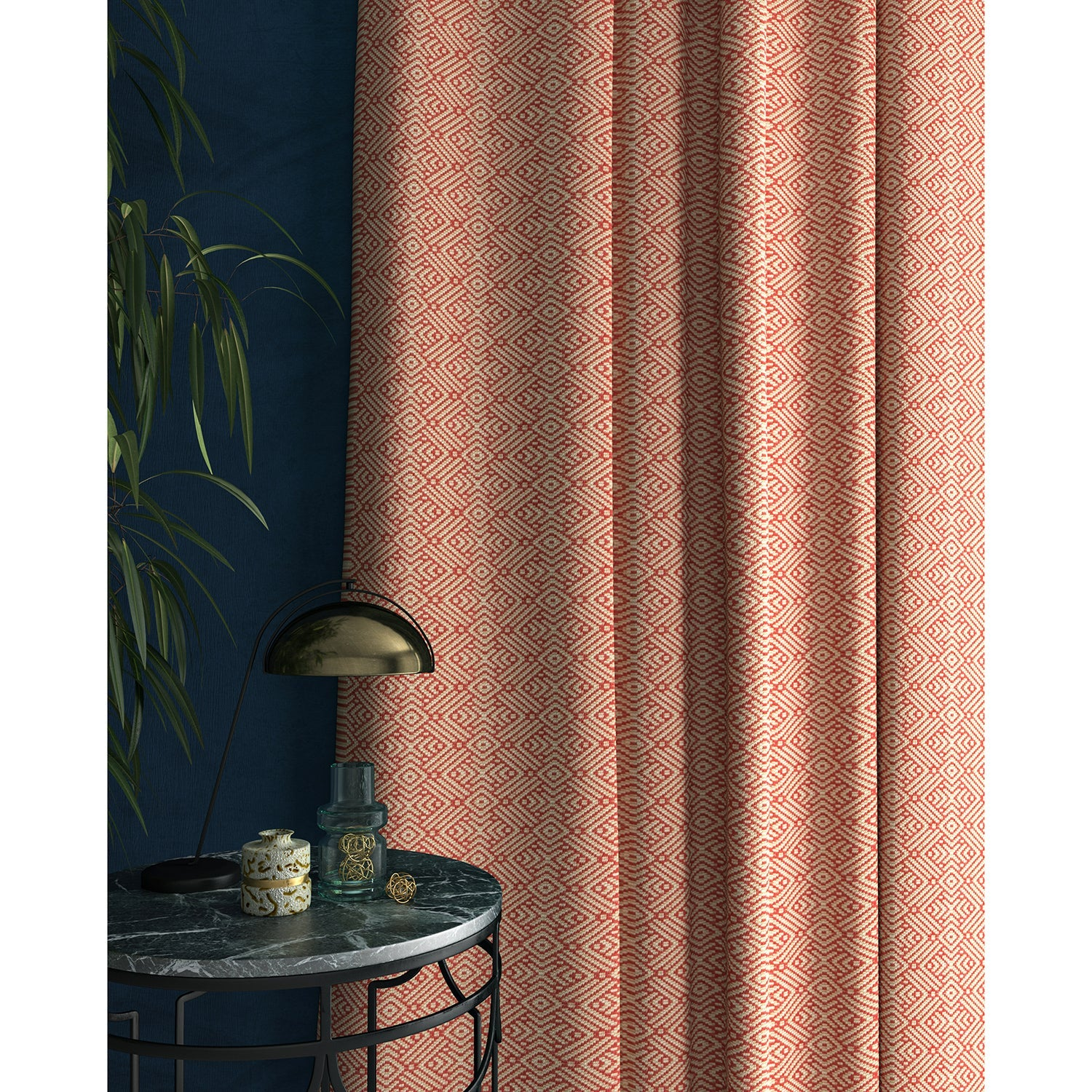 Curtains in a pink and white geometric weave fabric