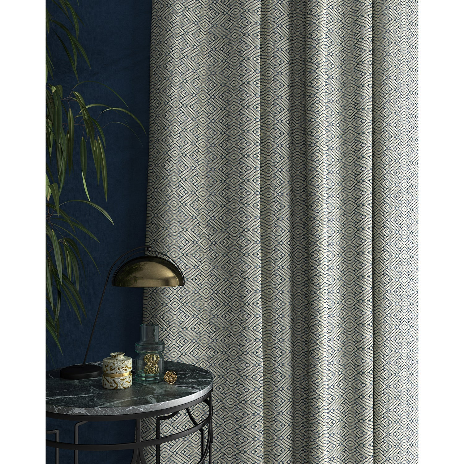 Curtains in a light blue and white geometric weave fabric