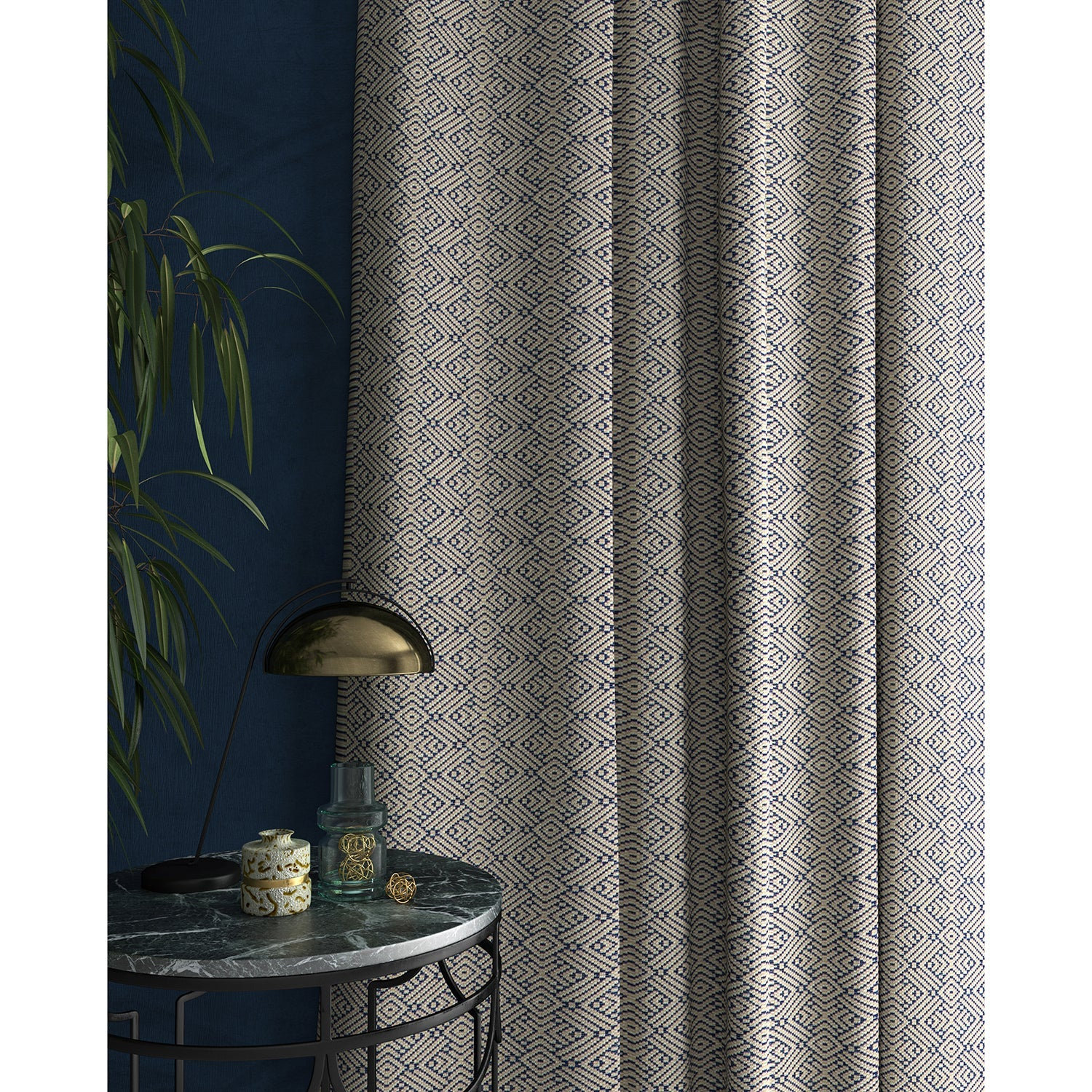 Curtains in a indigo blue geometric weave fabric
