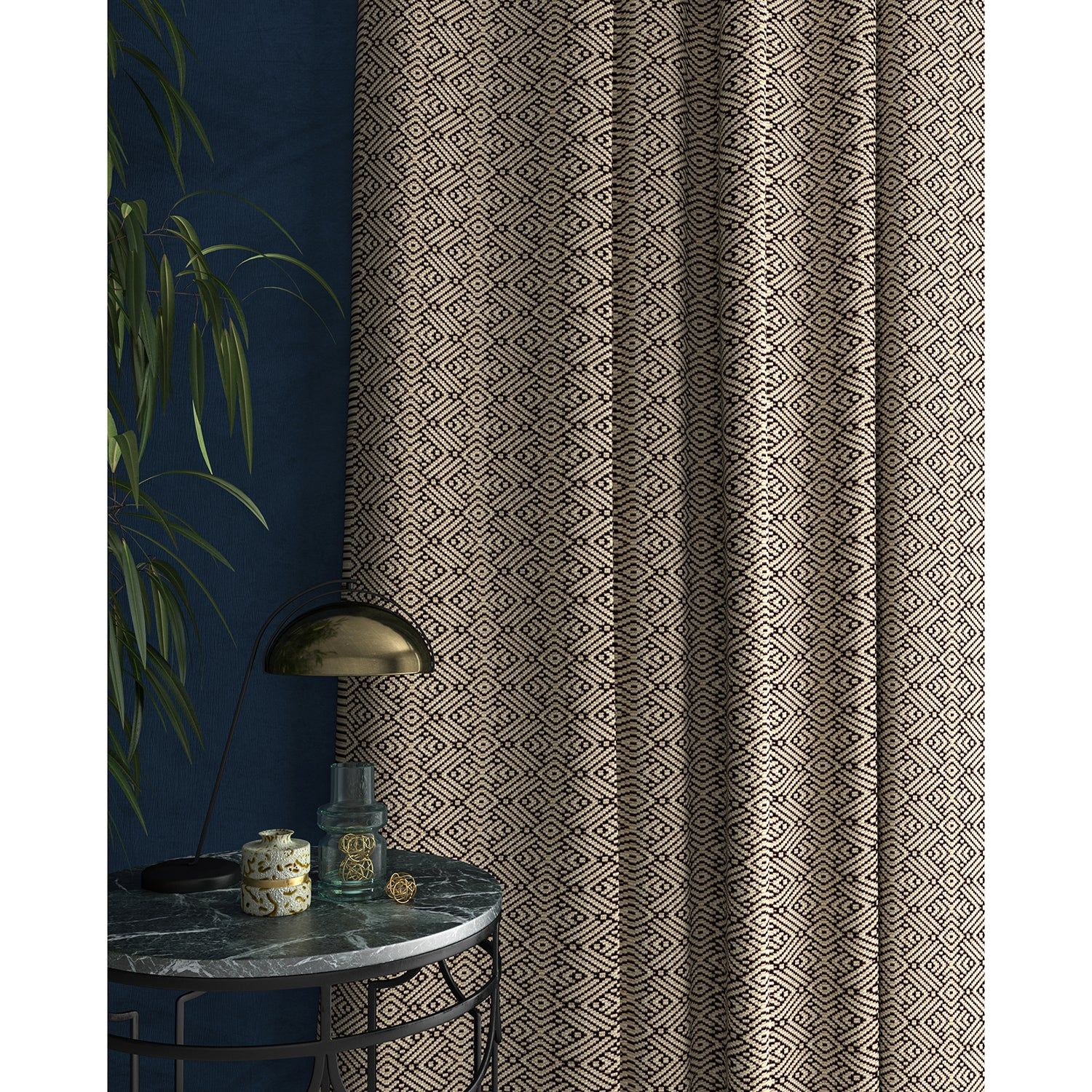 Curtains in a monochrome geometric weave fabric