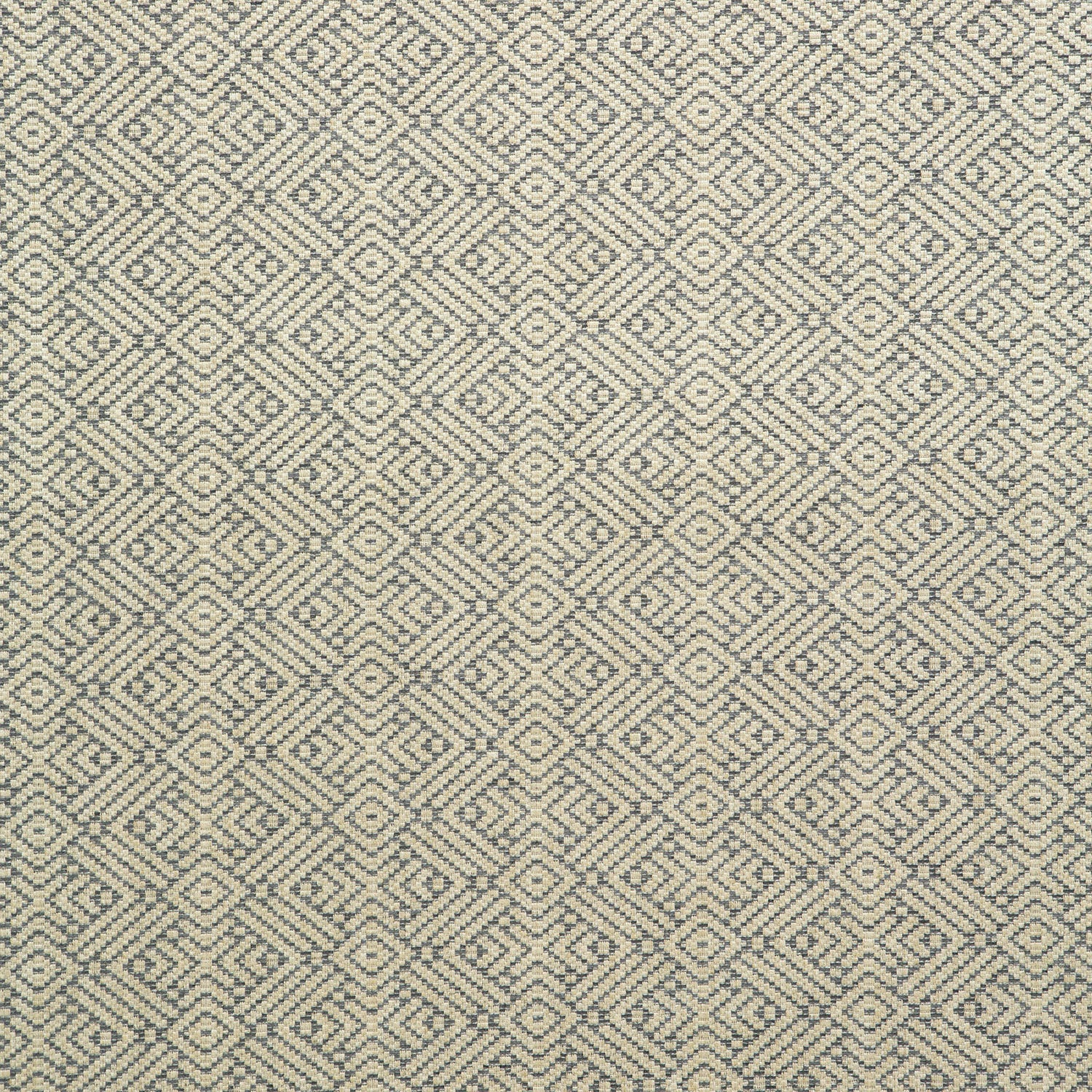 Fabric swatch of a grey and neutral geometric weave fabric for curtains and upholstery