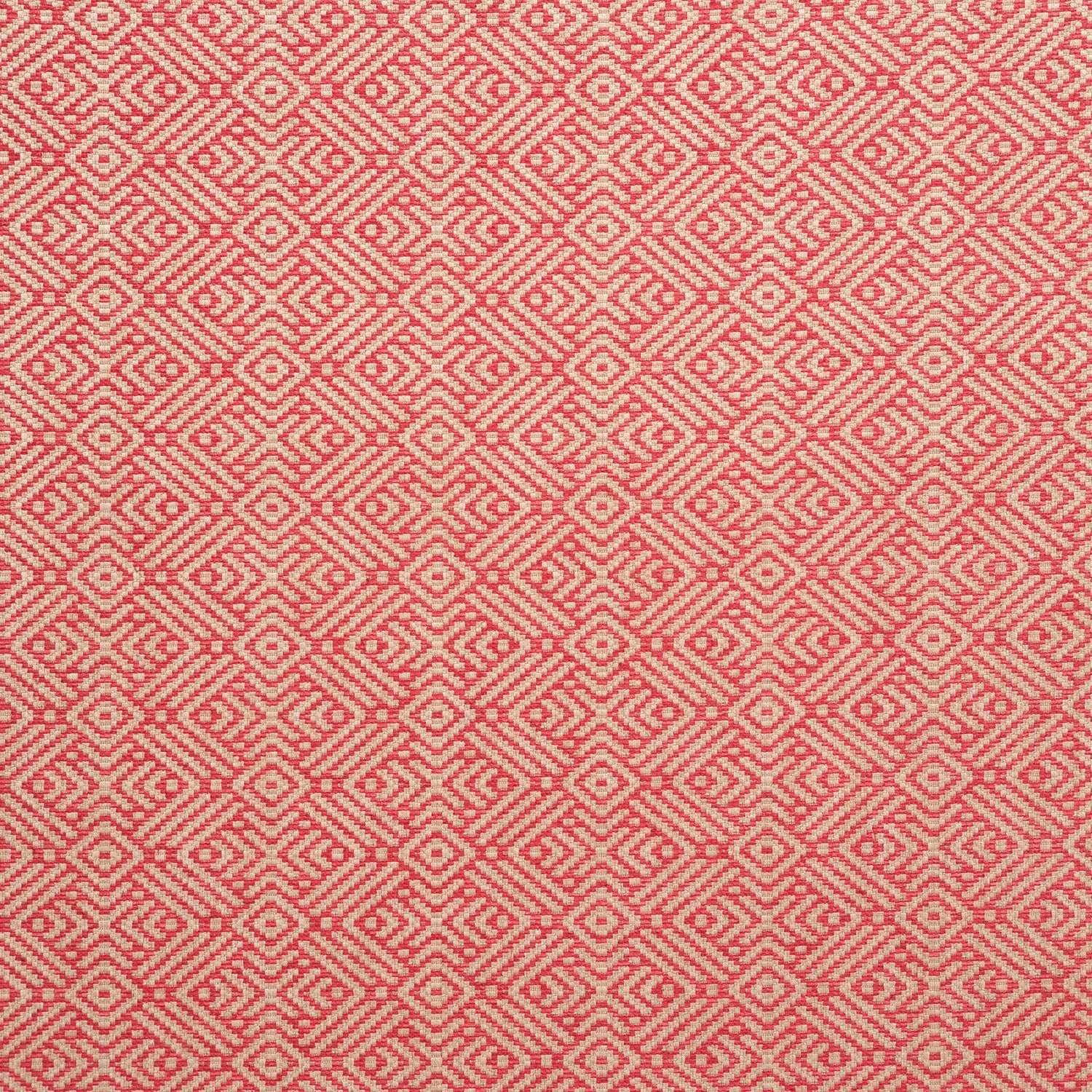 Fabric swatch of a pink and neutral geometric weave fabric for curtains and upholstery