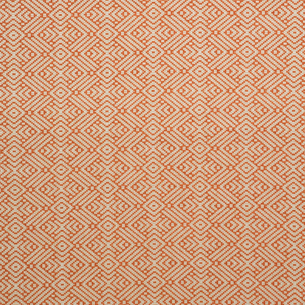 Fabric swatch of a orange and neutral geometric weave fabric for curtains and upholstery