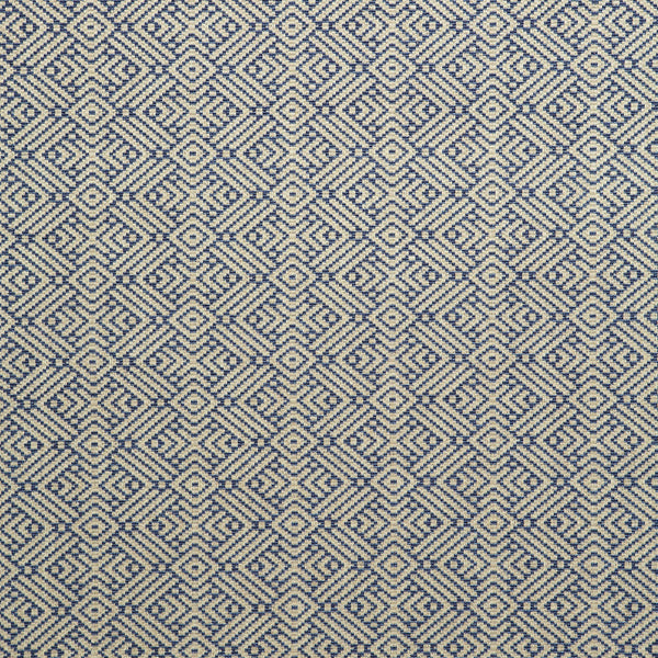 Fabric swatch of a indigo and neutral geometric weave fabric for curtains and upholstery