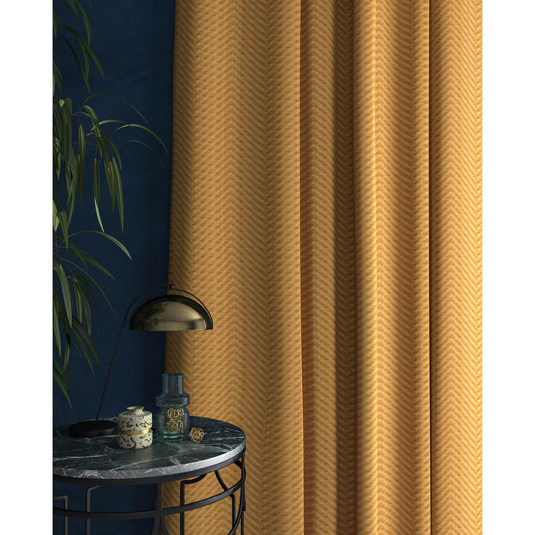 Curtain in a yellow herringbone fabric