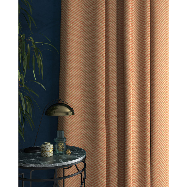 Curtain in a orange herringbone fabric