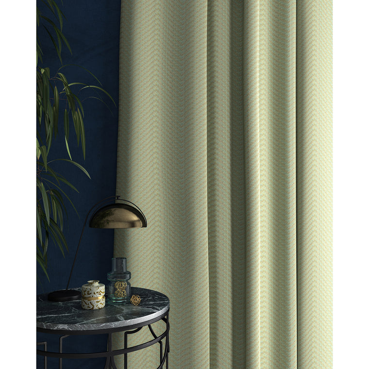 Curtain in a duck egg blue herringbone fabric
