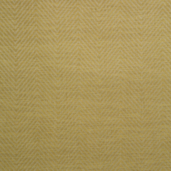 Fabric swatch of a yellow herringbone weave fabric for curtains and upholstery