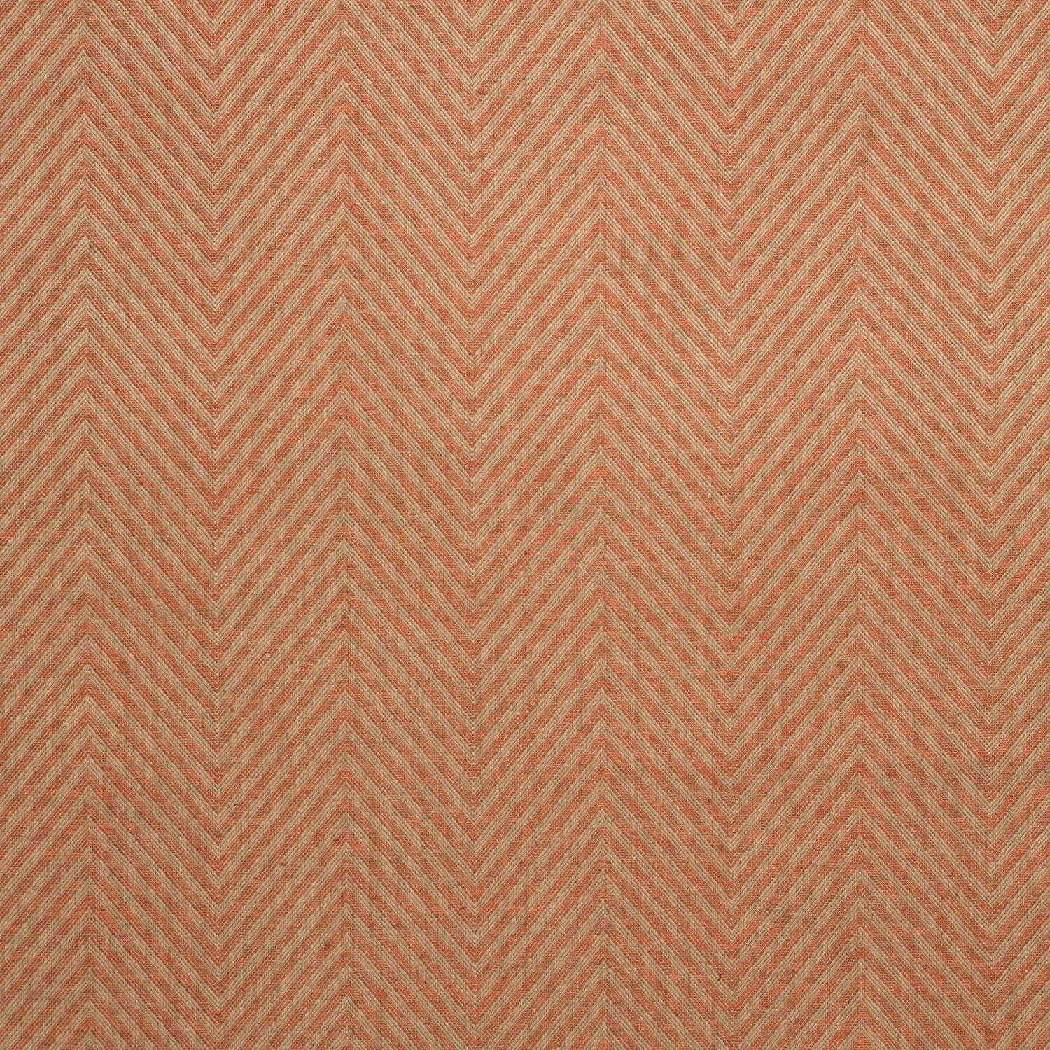 Fabric swatch of a orange herringbone weave fabric for curtains and upholstery