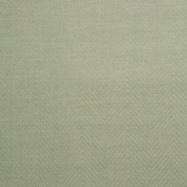 Fabric swatch of a duck egg blue herringbone weave fabric for curtains and upholstery