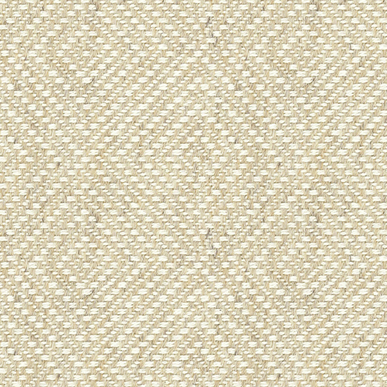 Cream fabric suitable for curtains and upholstery with a white woven geometric design