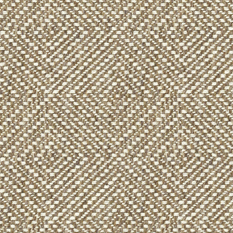 Neutral fabric suitable for curtains and upholstery with a white geometric design