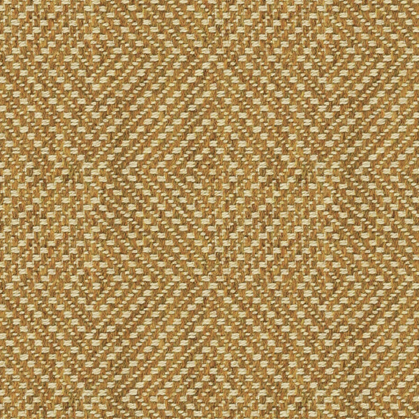 Mustard yellow fabric suitable for curtains and upholstery with a light neutral geometric woven design