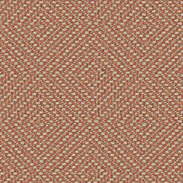 Terracotta fabric suitable for curtains and upholstery with a light neutral woven geometric design