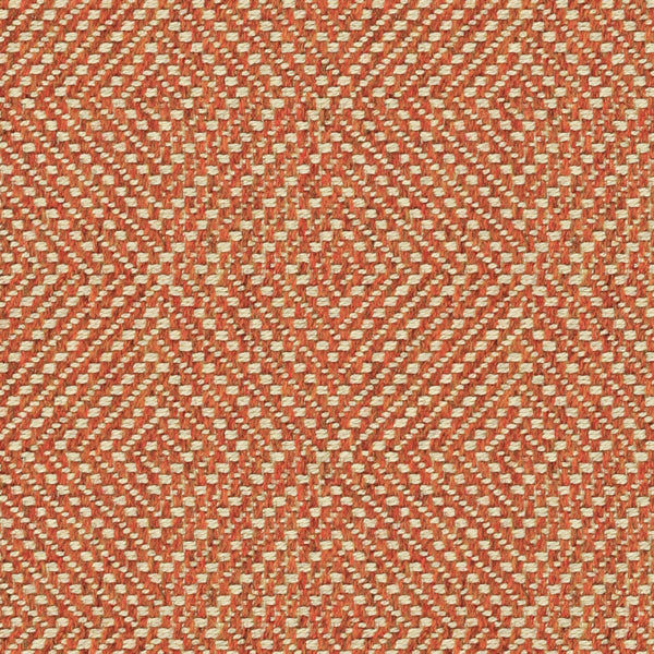 Orange fabric suitable for curtains and upholstery with a light neutral geometric woven design