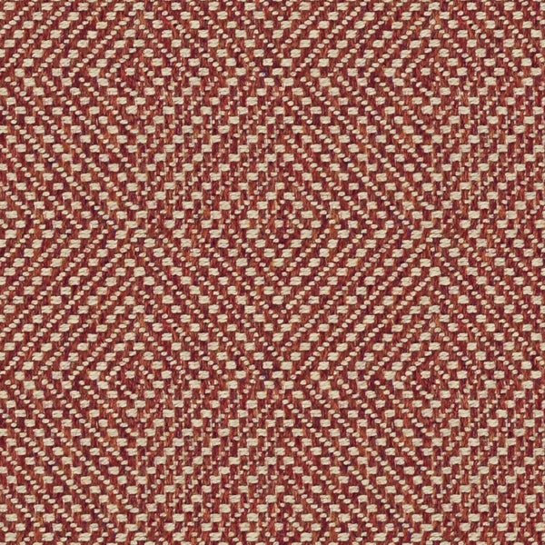 Burnt orange fabric suitable for curtains and upholstery with a light woven neutral geometric design