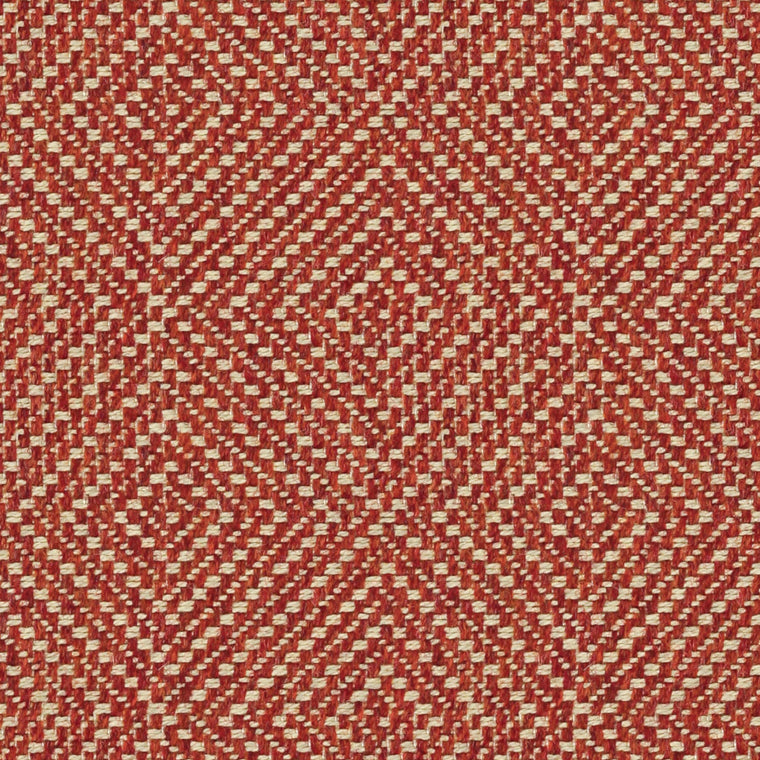 Terracotta coloured fabric suitable for curtains and upholstery with a light woven neutral geometric design
