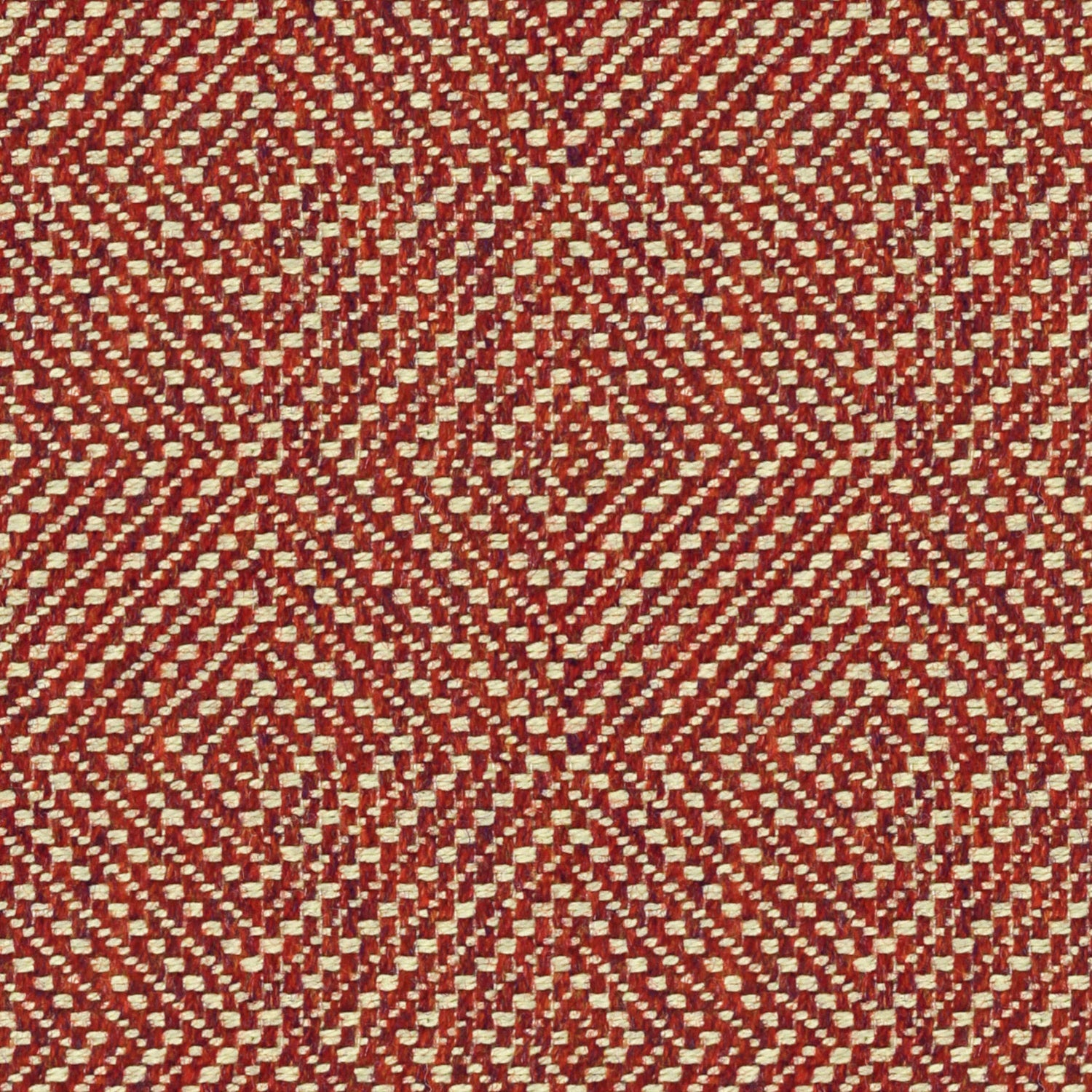 Raspberry red fabric suitable for curtains and upholstery with a light neutral woven geometric design