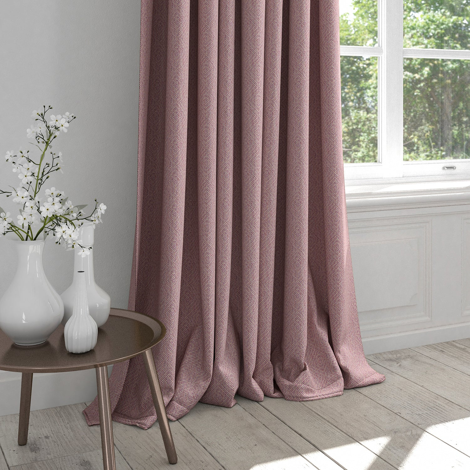 Curtain in a purple fabric with a light geometric woven design