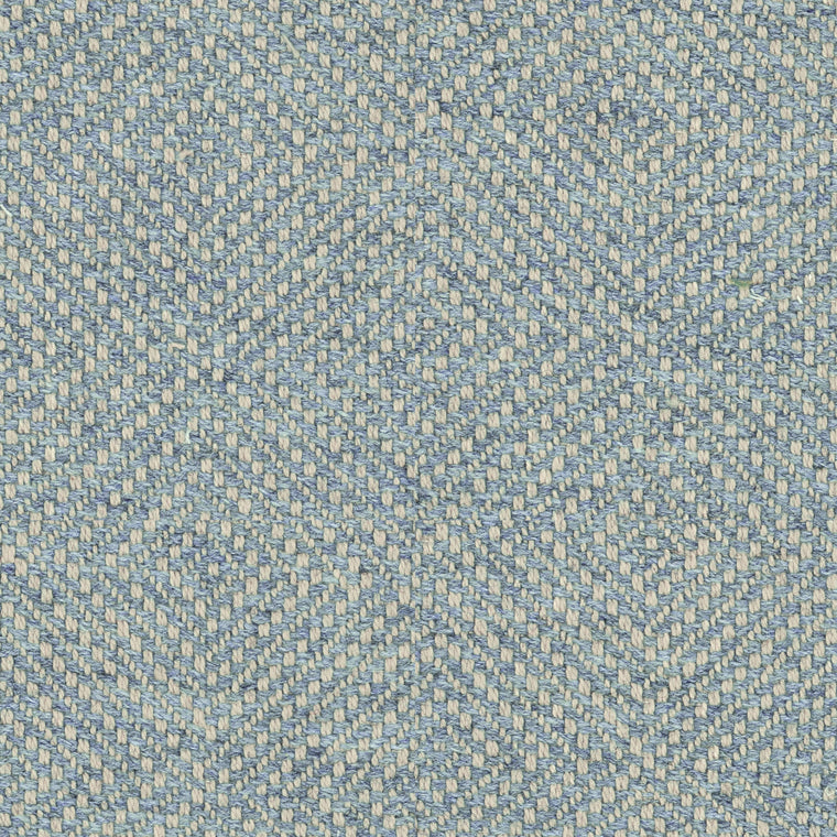 Light blue fabric for curtains and upholstery with a light neutral woven geometric design
