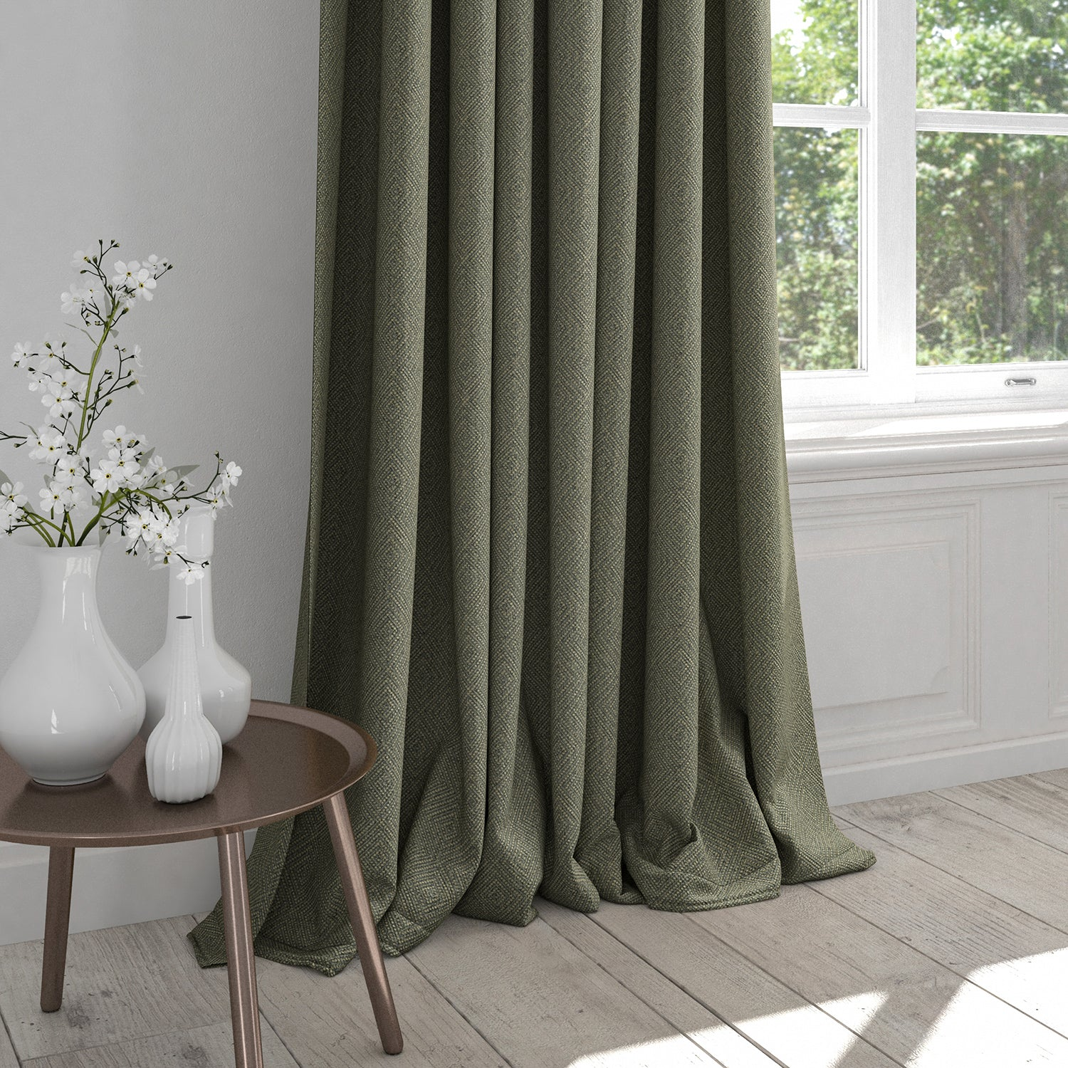 Curtain in a dark grey fabric with a light neutral geometric design