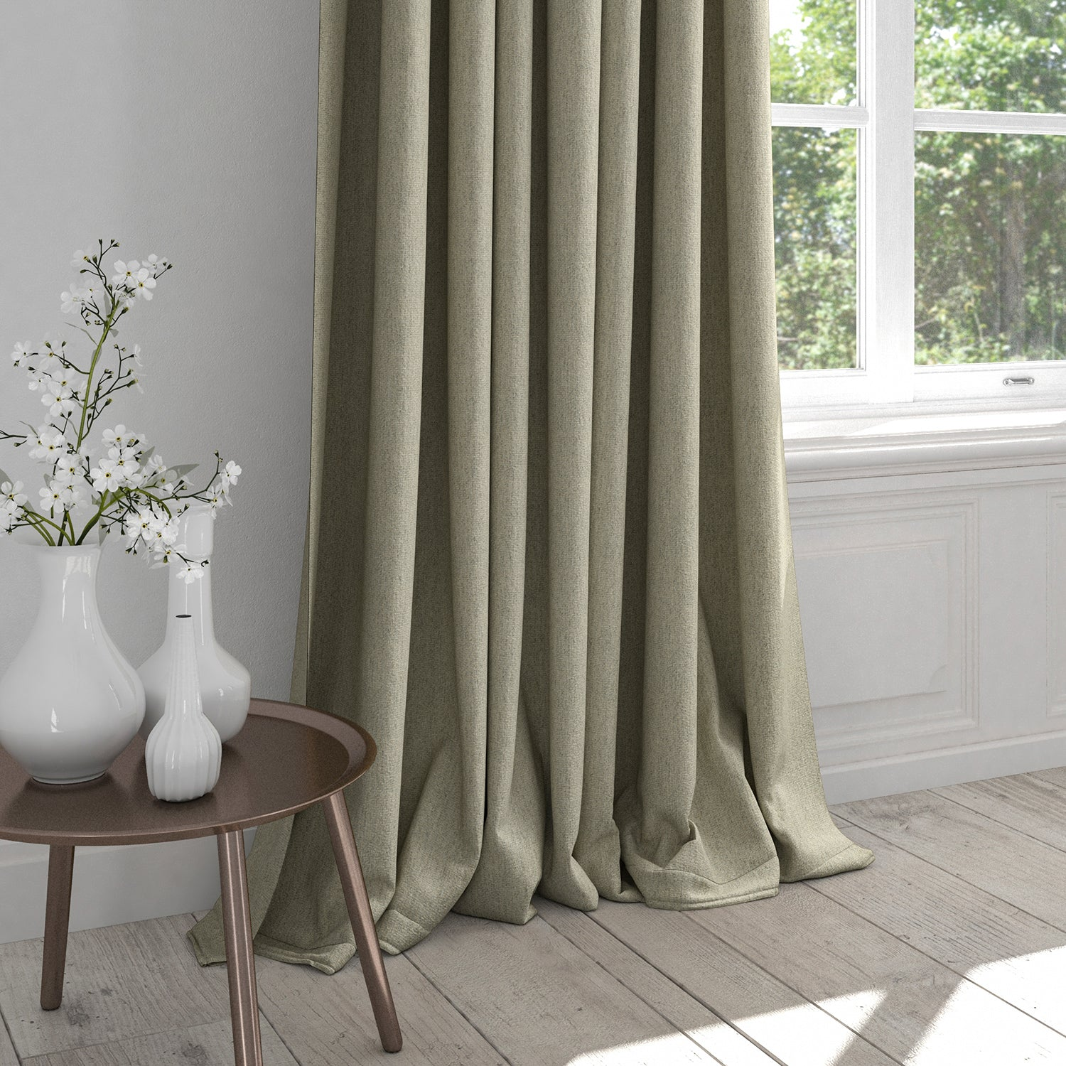 Curtain in a grey fabric with a neutral woven geometric design