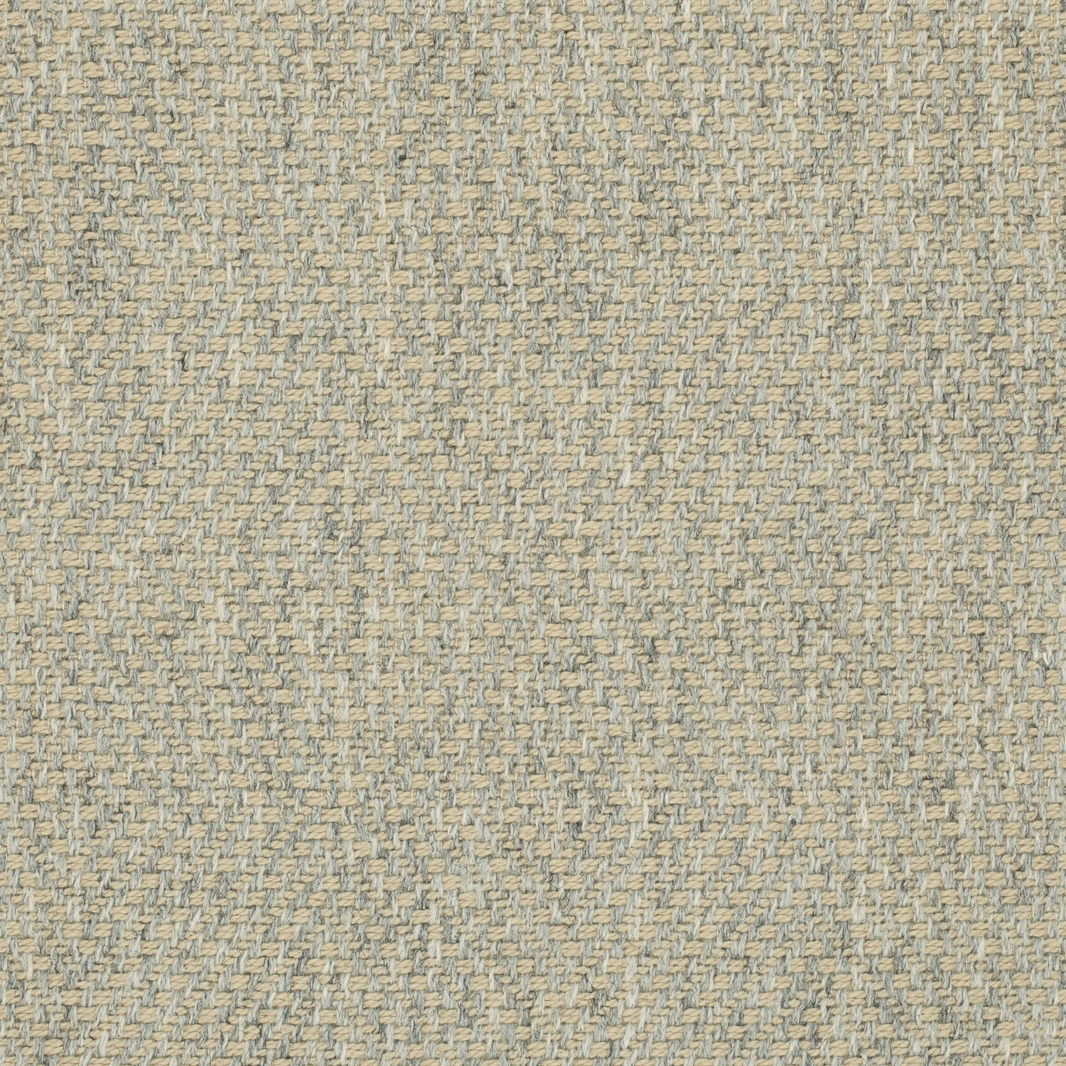 Grey fabric suitable for curtains and upholstery with a a neutral woven geometric design