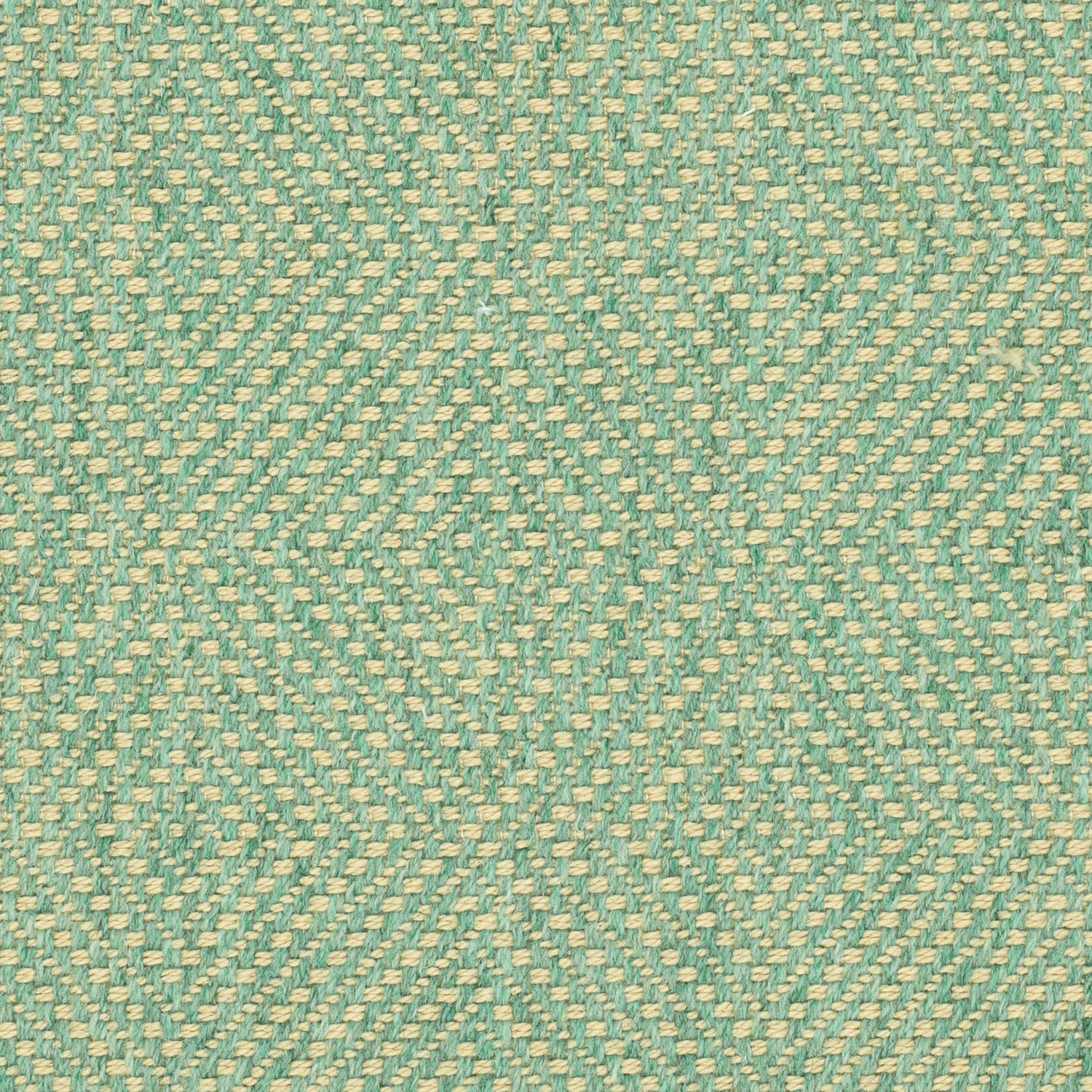 Green fabric suitable for curtains and upholstery with a neutral woven geometric design