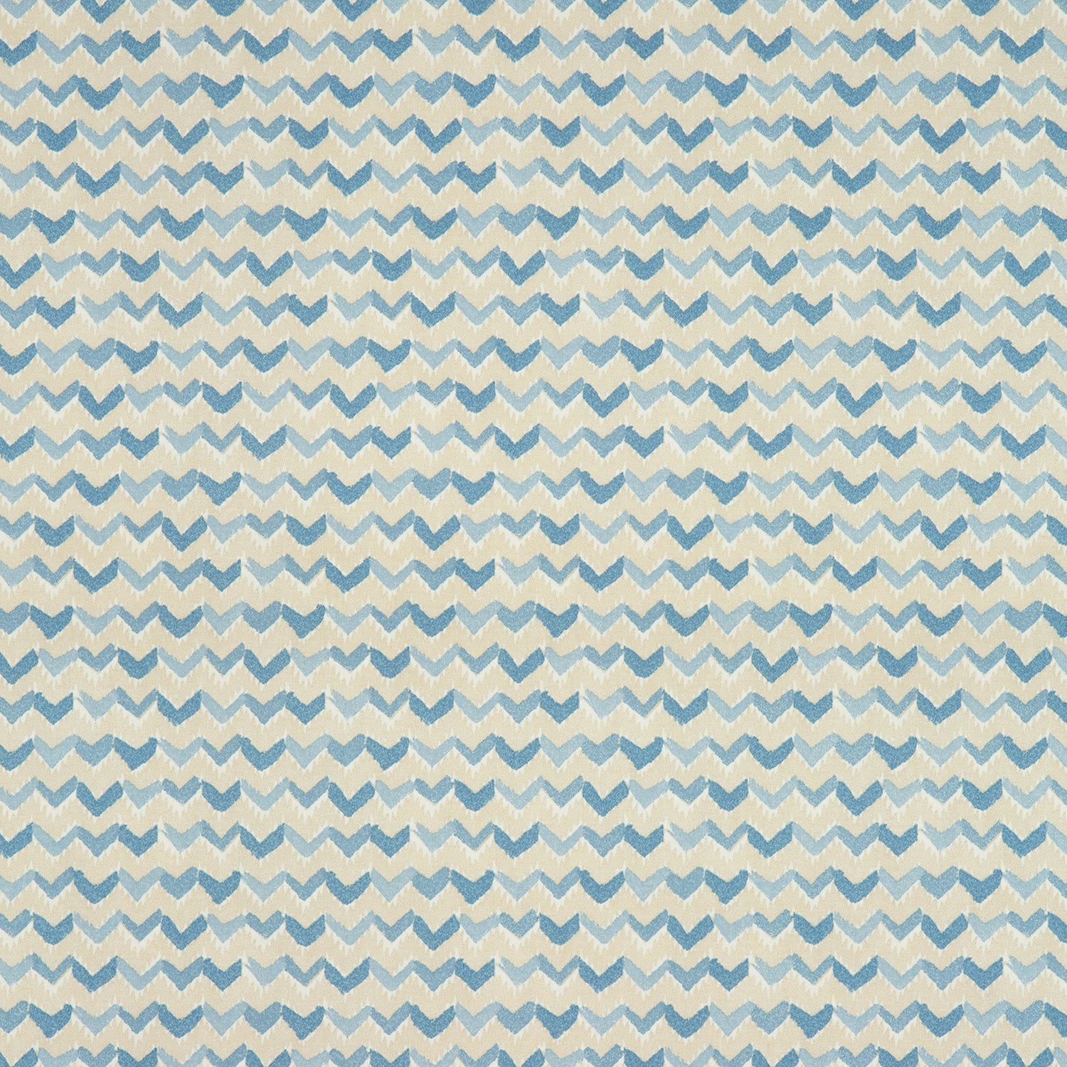 Fabric swatch of a light blue and white cotton fabric with a contemporary horizontal stripe, suitable for curtains, upholstery and loose covers