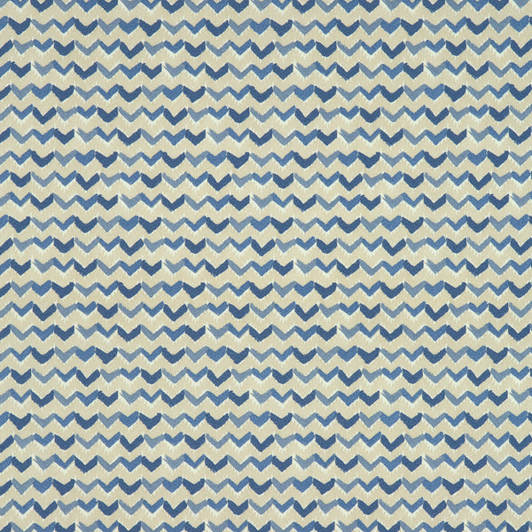 Fabric swatch of a royal blue and white cotton fabric with a contemporary horizontal stripe, suitable for curtains, upholstery and loose covers