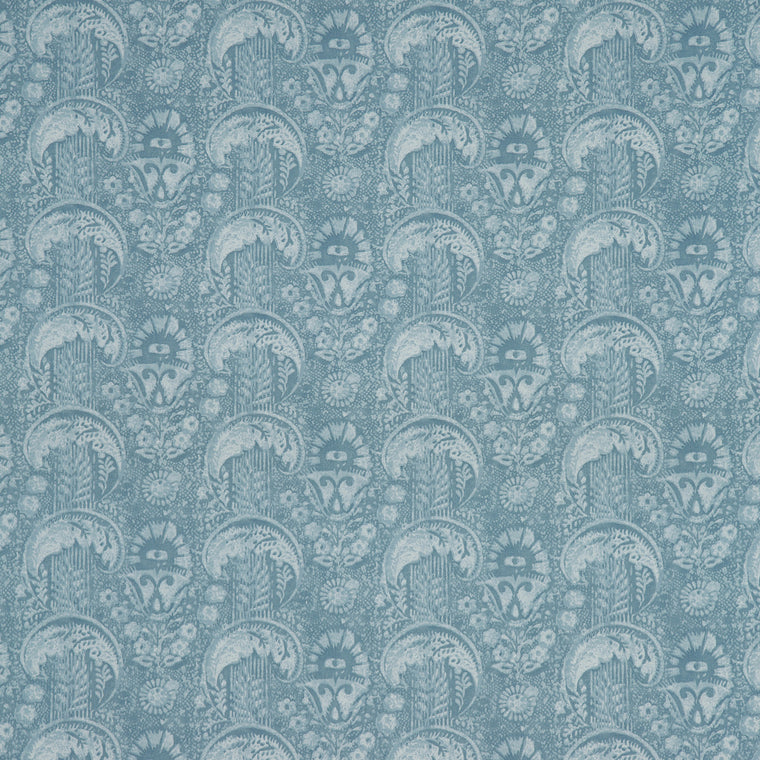 Fabric swatch of a light blue cotton fabric with small contemporary design, suitable for curtains, upholstery and loose covers