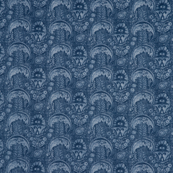 Fabric swatch of a royal blue cotton fabric with small contemporary design, suitable for curtains, upholstery and loose covers