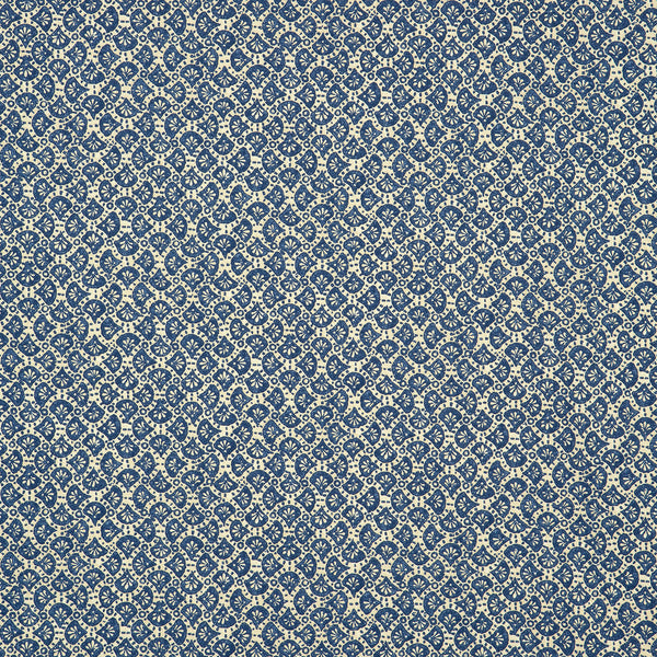 Fabric swatch of a royal blue and white cotton fabric with a small paisley design, suitable for curtains, upholstery and loose covers