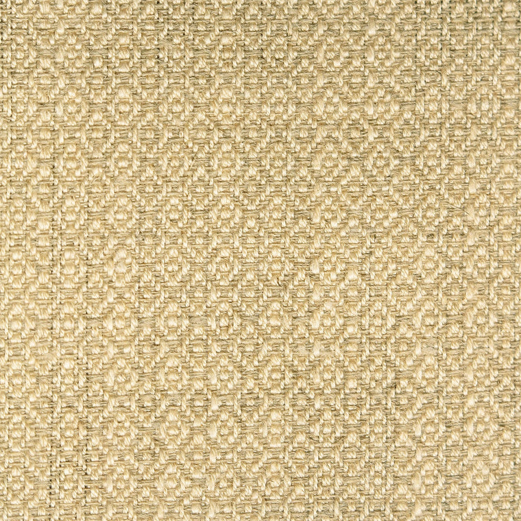 Fabric sample of a beige and neutral weave fabric with a small diamond design and stain resistant finish for curtains and upholstery