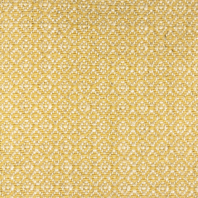 Fabric sample of a bright yellow and neutral weave fabric with a small diamond design and stain resistant finish for curtains and upholstery