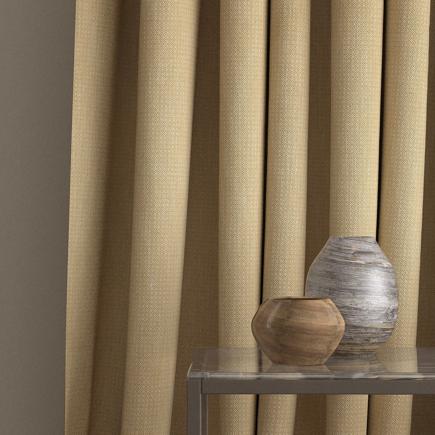 Curtain in a yellow and neutral weave fabric with a small diamond design and a stain resistant finish