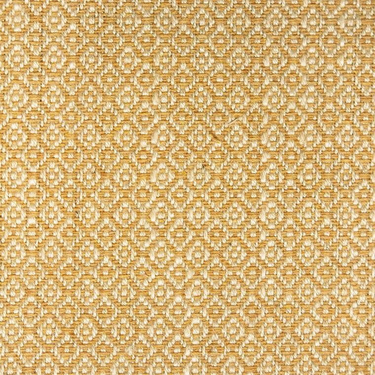 Fabric sample of a yellow and neutral weave fabric with a small diamond design and stain resistant finish for curtains and upholstery