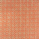 Fabric sample of a orange and neutral weave fabric with a small diamond design and stain resistant finish for curtains and upholstery