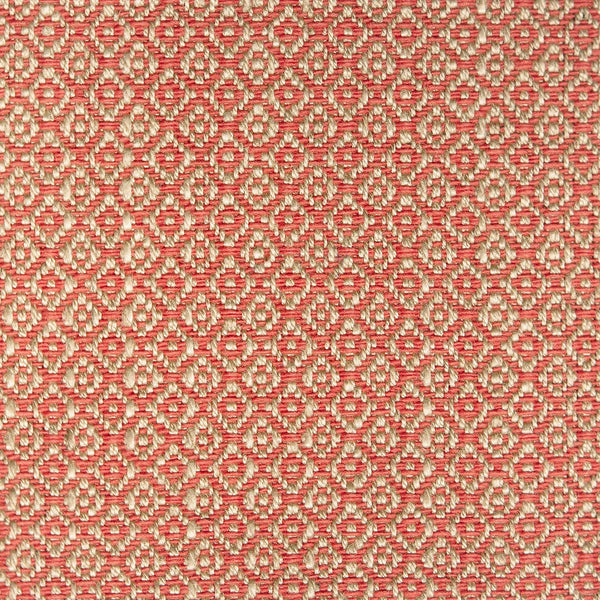 Fabric sample of a berry and neutral weave fabric with a small diamond design and stain resistant finish for curtains and upholstery