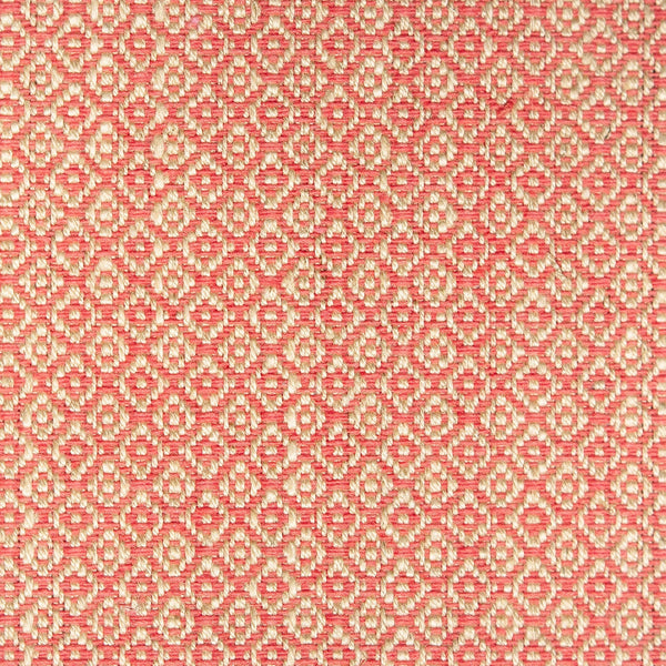 Fabric sample of a bright pink and neutral weave fabric with a small diamond design and stain resistant finish for curtains and upholstery